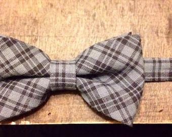 The Plaid Standard - Black and Gray Plaid Bow Tie