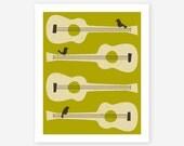 BIRDS 0N GUITAR STRINGS, Wall art for the home decor, Giclee Fine art print, (green version)