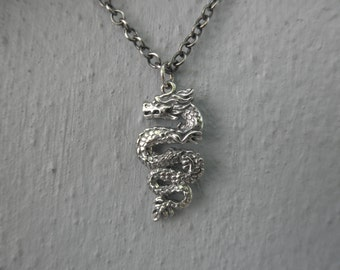 Sterling silver dragon oxidized sterling silver  necklace
