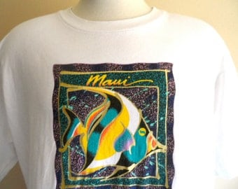 vintage 90's 80's Maui Hawaii angel fish teal purple gold back front print tourist travel souvenir graphic t-shirt white crew neck tee xl