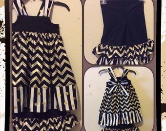 Black and Gold chevron/Dallas Cowboys/Houston Texans Reverse Knot dress