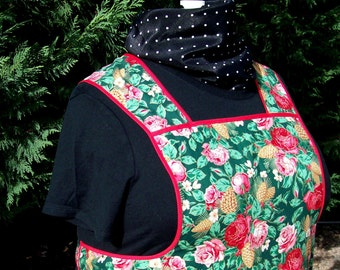 Ladies Full Christmas Roses Retro Apron Size XL