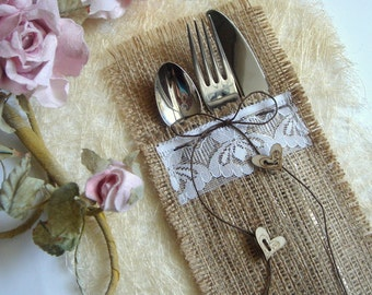 Eco friendly  Burlap Flatware Holders , 100 Wedding Table Setting,Rustic Flatware Pockets