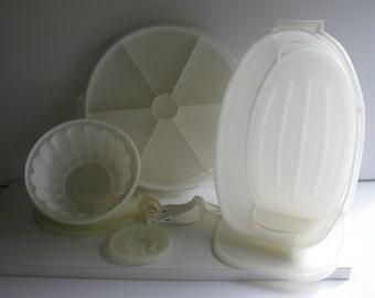 VINTAGE TUPPERWARE/10 PIECE Set/Tupperware Storage Containers/White Tupperware/Kitchenware/Storage Containers/Early Tupperware/Jello Mold