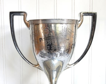 """VINTAGE GOLF TROPHY - Dieges Clust - Large - Milford School Handicap - Mill River Country Club - Loving Cup - 14 1/2"""" High"""