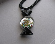 JEWELRY SALE- Black Glass Candy Pendant Necklace- Seed Bead Strand