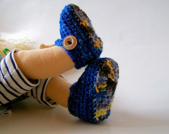 Starry Night Crochet Mary Janes for Waldorf Dolls