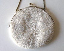 SALE, Beaded Vintage White Purse,  Woman's accessory, Prom, Wedding, Great Gatsby, gift idea