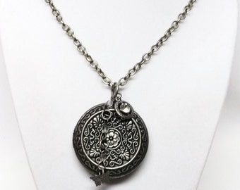 Large Antiqued Silver Round Locket Pendant Necklace