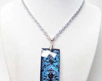 Turquoise & Black Damask Rectangle Glass Pendant Necklace