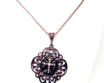 Antique Copper Finished Shield w/Rhinestone Cross Pendant Necklace