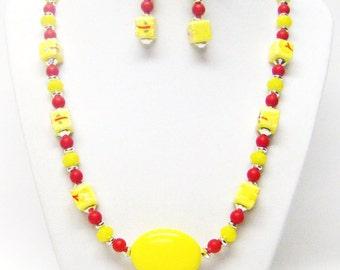 Yellow w/Flowers Ceramic Bead Necklace & Earrings Set