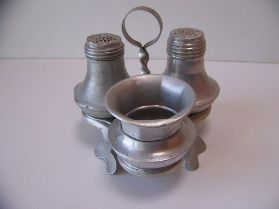 Vintage Aluminum Salt And Pepper Shakers And Toothpick Holder Cottage Chic Kitchen Retro
