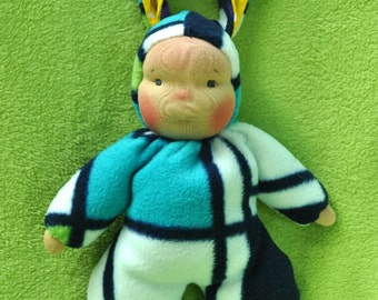 "Waldorf style floppy Bunny Baby, 11"" / 28 cm tall. Soft child friendly baby doll."