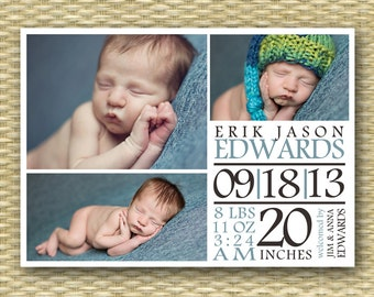 Custom Birth Announcement, 3 Photo/4 Photo Typography - Erik - Baby Boy, Baby Girl