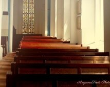 Church photograph, Wooden Bench, Pews, Reflection, Peace, light, stained glass, Singapore, Brown, Religious, 8x12, wall decor, SG50