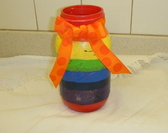 Rainbow stripes painted mason jar