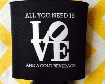 Philadelphia Wedding can coolies, Philly LOVE symbol can coolers, LOVE symbol wedding favors (200 qty)