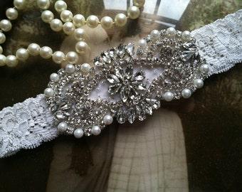 SALE-Wedding Garter - Ivory-White Lace Garter - Ivory Rhinestone Garter - Applique Garter - Vintage - Bridal Garter - Toss Garter