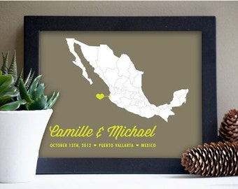 Mexico Destination Wedding Map Art Print