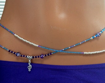 "The ""Jazz"" Amethyst and Glass Double (2) Strand Waistbeads in Blue, Silver and Purple with Musical Note Charm, Sterling Silver Clasp"