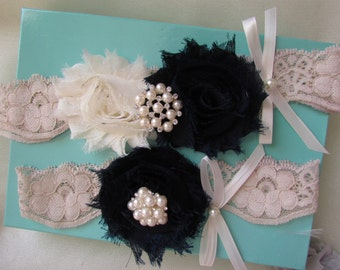 SALE Bridal Garter, Wedding Garter and Toss Garter - Ivory/Navy Garter Set with Pearl & Rhinestone Style # GV0025