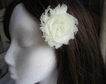 Frayed Chiffon Flower - Shabby Chic Hair Flower - Hair Clip or Brooch