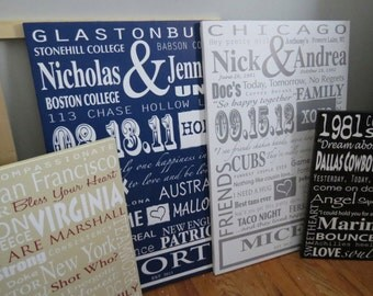 FAMILY NAME DECOR, unique canvas art, typography canvas art, Cotton Anniversary
