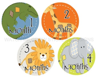 Baby Monthly Stickers, Baby Shower Gift, Animals Safari Jungle, Baby Month Stickers Boys, Milestone Stickers, Boy Stickers, Month Stickers