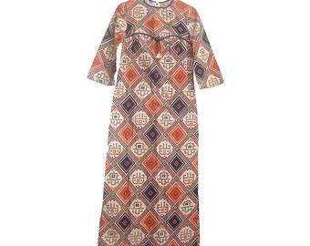 70s pakistan maxi dress cotton small