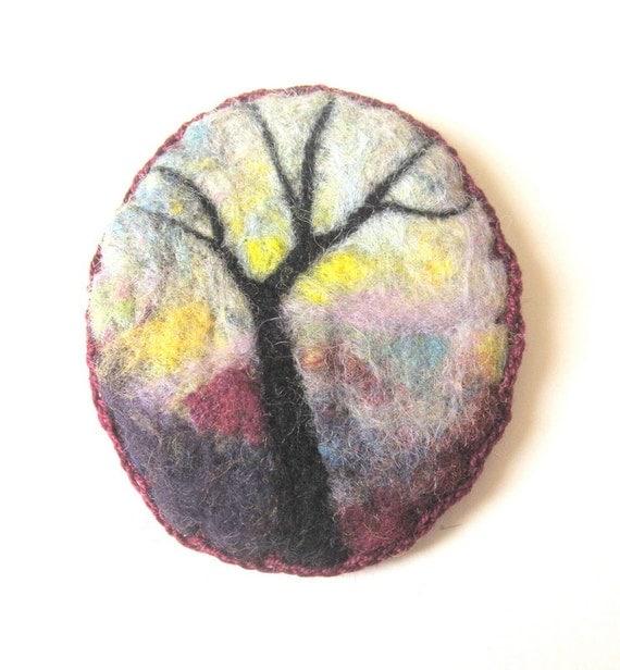 felted brooch, needle felt pin, unusual brooch, felted wool, tree ...