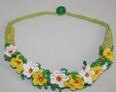 Spring Necklace - textile collar daffodils crochet embroidered