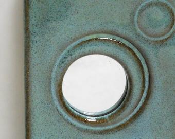 Speckled blue slim ceramic wall mirror