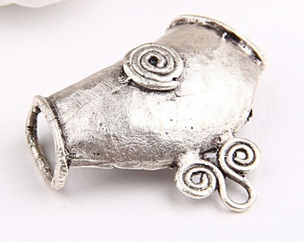 Large Spiral Pendant Bail, Matte Sİlver Plated, 1 piece -Jewelry Supplies // SFND-0028