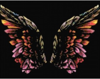 Colorful Wings Counted Cross Stitch Pattern Chart PDF Download by Stitching Addiction
