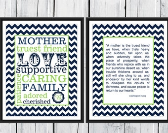 Mother's Gift Two Print Set Custom 8x10