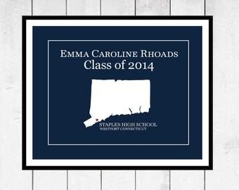 High School Graduation Gift - Custom Gift - School Name & Colors- State Love Print - Graduation Party Decor