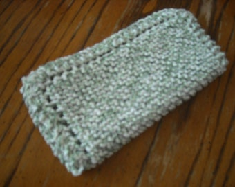 "Hand Knit Dish Cloth - Mix-N-Match - Cotton - Medium 8"" Square - Variegated Green and White"
