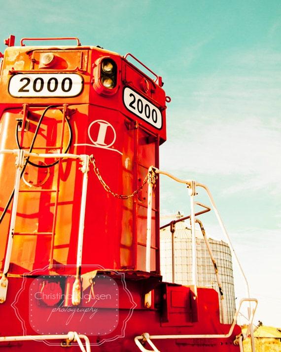 Train Photograph. Nebraska Photo. Railroad Photo. Locomotive. Bright Red. Turquoise. Boy's Room Decor. Red. Orange. Fine Art Photographic