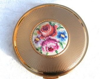 FREE SHIPPING 1960s KIGU Vintage Petit Point Powder Compact Mirror Unused Condition Bridesmaid or Birthday Gift