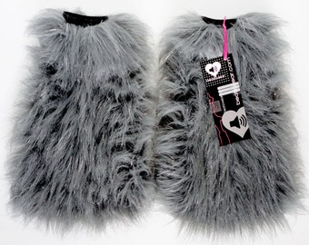 Gray fluffies - MADE TO ORDER  // gray glitter fluffies // gray legwarmers // gray leggings // rave fluffies // cosplay // faux fur boots