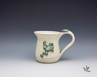 Mug with Frog Nature Lover Gardener Botanical Coffee Tea Soup Mothers Day Stoneware