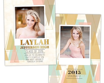 Senior Graduation Announcement Card Template for Photographers - Photoshop Templates for Photographers - Photo Card Template - GD116