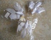 """Vintage Birds - Flocked Doves with Feathers, Millinery Birds, Three 5"""" and Three 3"""" Weddings, Showers, Christmas Crafts"""