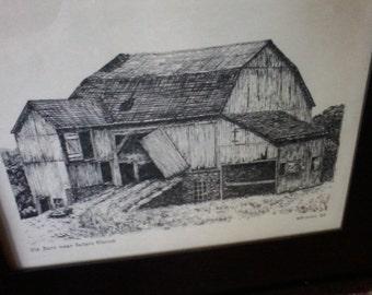 Pennsylvania Landmark Pen and Ink, MB Jones, 1964 Original art