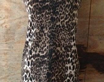Vintage 90s  Leopard Print Bodycon Minidress