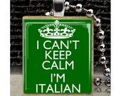 Scrabble, Tile, Necklace, Pendant, Handmade, Jewelry, Altered Art, Keep Calm, Italy, Italian