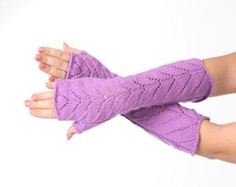 SALE Purple Long lace Fingerless Lace Fingerless mittens Arm Warmer Gloves Long Fingerless Extra Long fingerless Lace gloves