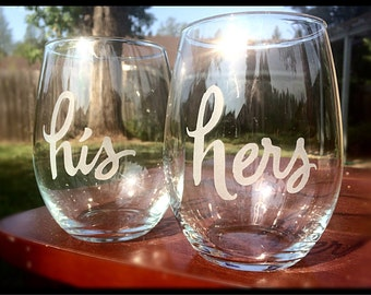 Stemless Etched Wine Glasses, His and Hers, Engraved Wine Glasses