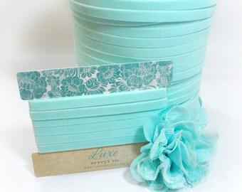 Ultra Soft VELVET Elastic for Baby Headbands - 3/8 Inch Wide - MINERAL ICE - 2 Yards - Stretch Velvet Trim for Crafts